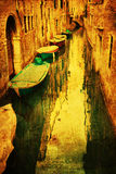 Canal in Venice with grunge texture Stock Photo