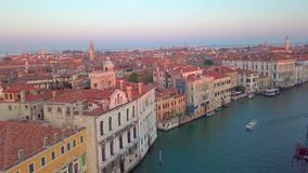 Canal in Venice, Italy from drone stock video footage