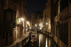Canal in Venice, Italy, at Night Stock Image