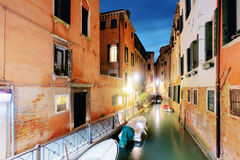Canal in Venice, Italy at night Stock Photo