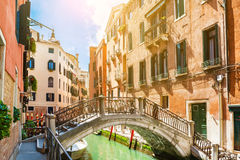 Canal in Venice, Italy. Scenic canal with bridge and colorful buildings in Venice, Italy Royalty Free Stock Images
