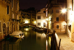 Canal in Venice at midnight Stock Photos