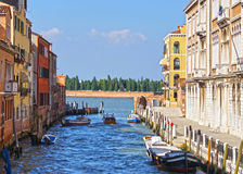 Canal in Venice and motorboats, Italy, Europe Stock Photo