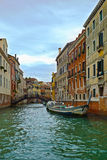 Canal in Venice and motorboats, Italy, Europe Royalty Free Stock Photos