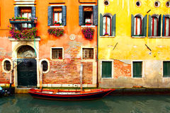 Canal in Venice. Narrow canal with boat in Venice, Italy Stock Photos