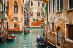 Canal in Venice. Narrow Canal in Venice, Italy Stock Image