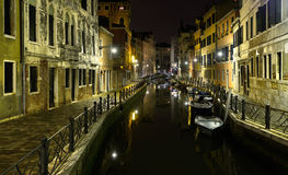 Canal in venice. At night Stock Images