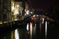 Canal in venice in night Royalty Free Stock Photo