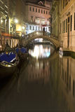 Canal in venice by night Stock Photography