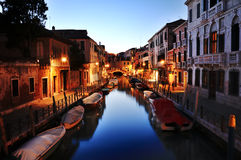 Canal of Venice at night, Italy Royalty Free Stock Images