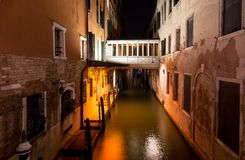 Canal in Venice at night, Italy Stock Photo