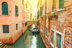 Canal in Venice at sunny day. Royalty Free Stock Images