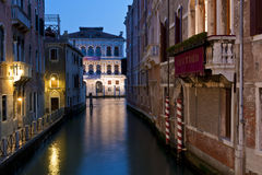 Canal in Venice at sunset Royalty Free Stock Photo