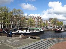 The canal view in Amsterdam Stock Photography