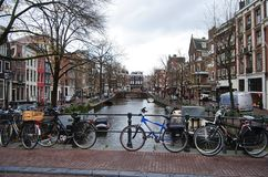 Canal view in Amsterdam. Royalty Free Stock Photo