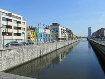 Canal View, Brussels, Belgium. BRUSSELS, BELGIUM, JULY 4 2015: The canal and quai de charbonnages in sint jans molenbeek in Brussels. Part of the Brussels Royalty Free Stock Image