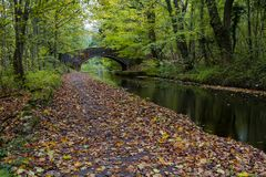 Canal view on the Chesterfield canal. View of a bridge over the Chesterfield canal, near Worksop, Nottinghamshire, UK Stock Images