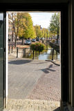 Canal view in Franeker, Netherlands Royalty Free Stock Photos