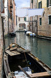 Canal view in venice with a boat Royalty Free Stock Image
