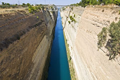 Canal water passage of Corinth in Greece. Canal water passage of Corinth in Europe, Greece Stock Photo