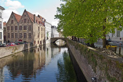 Canal waterway in the idyllic city of Bruges, Belgium Stock Photo