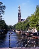 Canal and Westerkerk, Amsterdam. Stock Photos