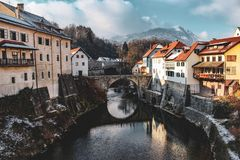 Beautiful town in Slovenia stock images