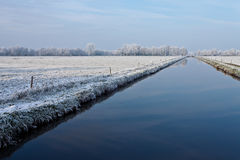 Canal in a white winter landscape Stock Photos
