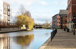The Canal through Wigan Town. The Leeds Liverpool Canal as it passes through Wigan Royalty Free Stock Image