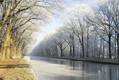 Canal in winter stock photo
