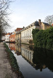 On the canal in winter Bruges Royalty Free Stock Images