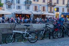 Canal y bicicleta del centro de Milán Fotografía de archivo