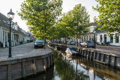 Canal Zoutsloot in old town of Harlingen, Netherlands Royalty Free Stock Image