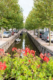 Canal Zoutsloot in old town of Harlingen, Netherlands Royalty Free Stock Images