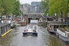 Canalboat in Amsterdam Royalty Free Stock Photography