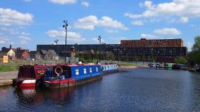 Canalboats,曼彻斯特英国 免版税库存图片