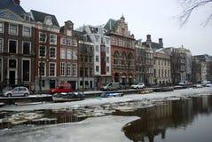 Canale congelato a Amsterdam Immagini Stock