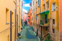 Canale delle Moline canal La Piccola Venezia Finestrella between buildings in old historical city centre of Bologna royalty free stock image