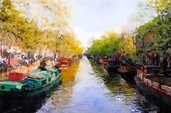 Canale di Amsterdam illustrazione di stock