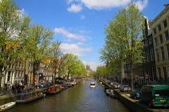 Canale di Amsterdam - Paesi Bassi Fotografia Stock