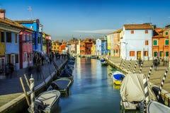 Canale di Burano Fotografie Stock
