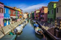 Canale di Burano a Venezia Fotografia Stock Libera da Diritti