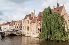 Canale di Dijver a Bruges Belgio Fotografie Stock Libere da Diritti