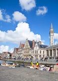 Canale di Gand, Belgio Fotografia Stock Libera da Diritti
