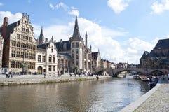 Canale di Gand, Belgio Fotografie Stock Libere da Diritti