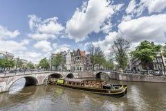 Canale di Keizersgracht a Amsterdam, Paesi Bassi Fotografia Stock Libera da Diritti