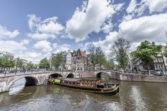 Canale di Keizersgracht a Amsterdam, Paesi Bassi Fotografie Stock Libere da Diritti