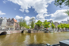Canale di Keizersgracht a Amsterdam, Paesi Bassi Fotografia Stock