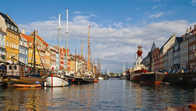 Canale di Nyhavn, Copenhaghen Fotografie Stock Libere da Diritti