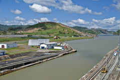 Canale di Panama, Vista del ponticello Immagine Stock